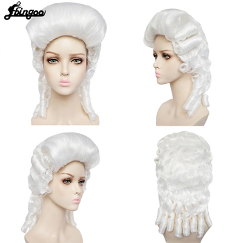 Ebinoo White Lawyer Wig Baroque Curly Colonial Female Lawyer Judge Deluxe Historical Costume Synthetic Cosplay Wig for Halloween rogue lawyer uab cd