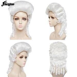 Ebinoo biały prawnik peruka barokowy kręcone kolonialne kobieta prawnik sędzia Deluxe historyczny kostium peruka syntetyczna Cosplay na Halloween