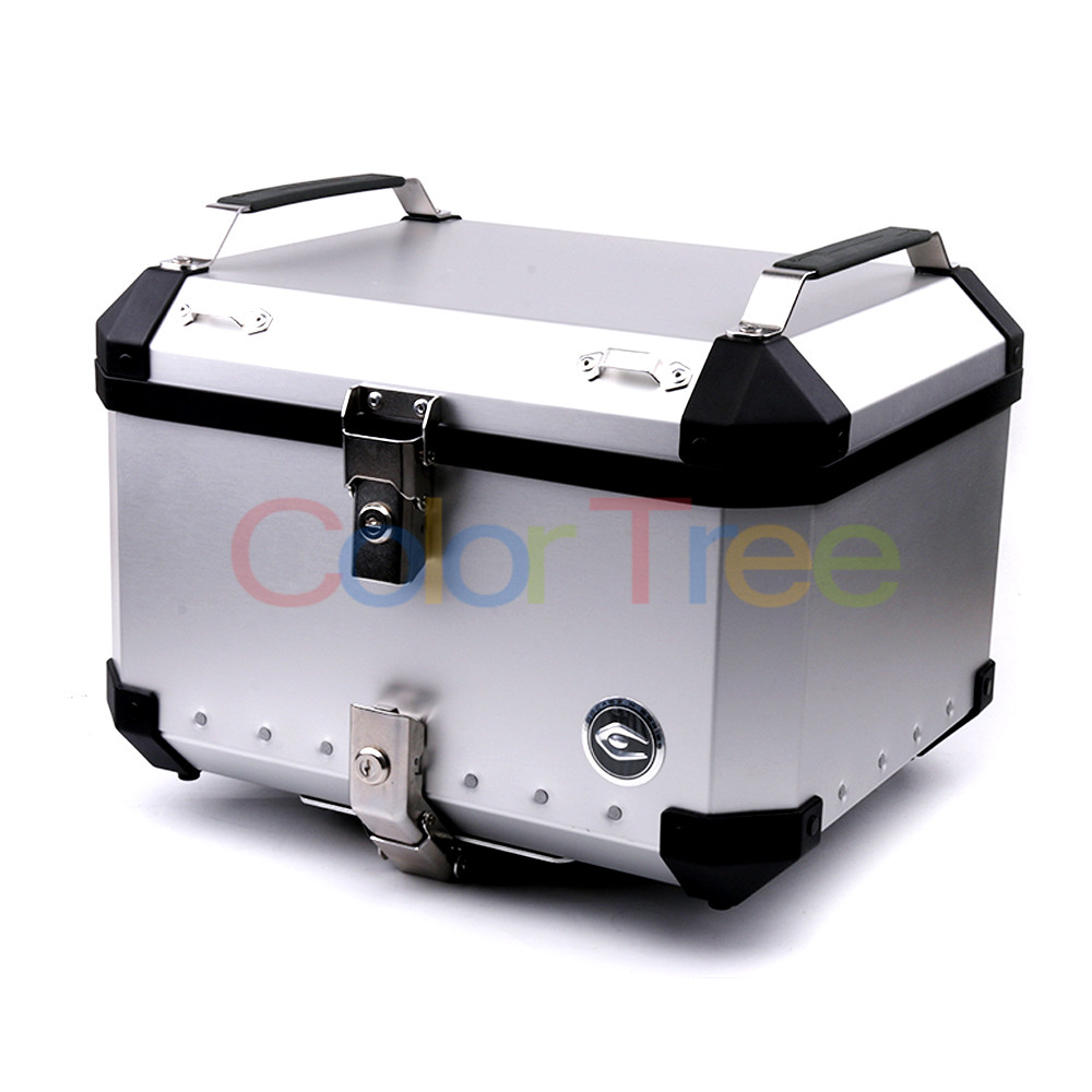 Universal 34L/40L/50L/60L Motorcycle Detachable Rear Storage Box Tail Luggage Trunk Case Toolbox Scooter Motorbike CNC Aluminum