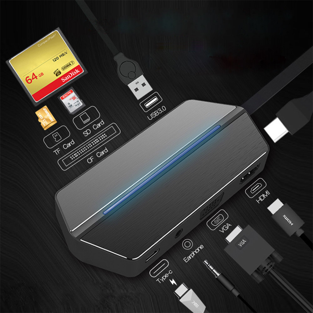 USB 3.0 HUB USB Splitter USB3.0 Port With TF SD CF HDMI VGA PD Charge For MacBook Tablet PC With Type C Laptop Device USB HUB