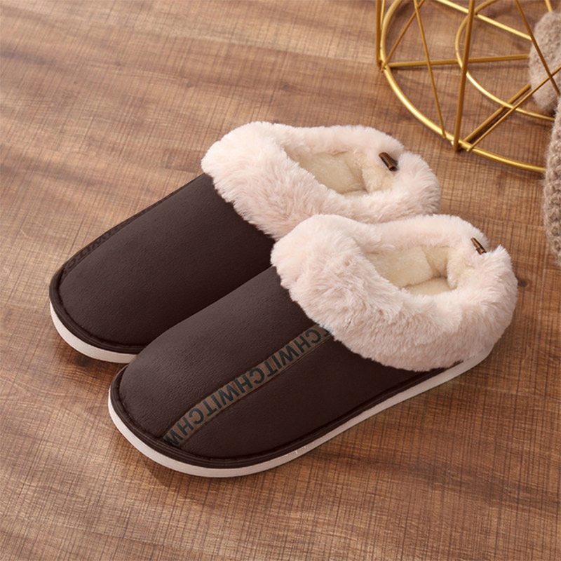 Winter Slippers Women's Home Couple Flat Warm Plush Shoes Woman Soft Indoor Cover Heel Female Shoes Cotton Women Footwear