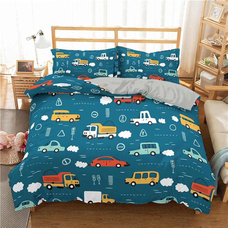 Boniu 3D Bedding Set Cartoon Cars Print For Kids Duvet Cover Set Lifelike Bedclothes With Pillowcase Microfiber Bed Set
