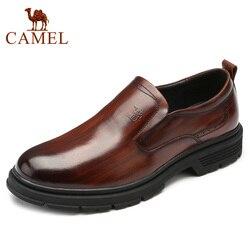 Dos homens do CAMELO Sapatos de Couro Genuíno Camurça Couro Respirável Sapatos do Pai Dos Homens Carbonizados Macio Do Vintage Fundo De Couro Sapatos de Negócios