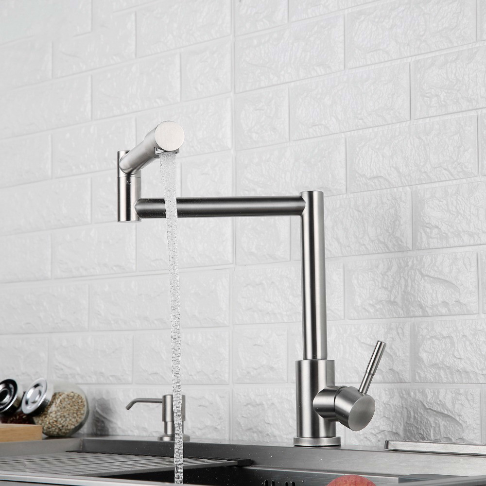 Kitchen Faucet 720 Degree Swivel Stainless Steel Sink Faucet Universal Single Handle Hot And Cold Mixer Folding Bar Faucet