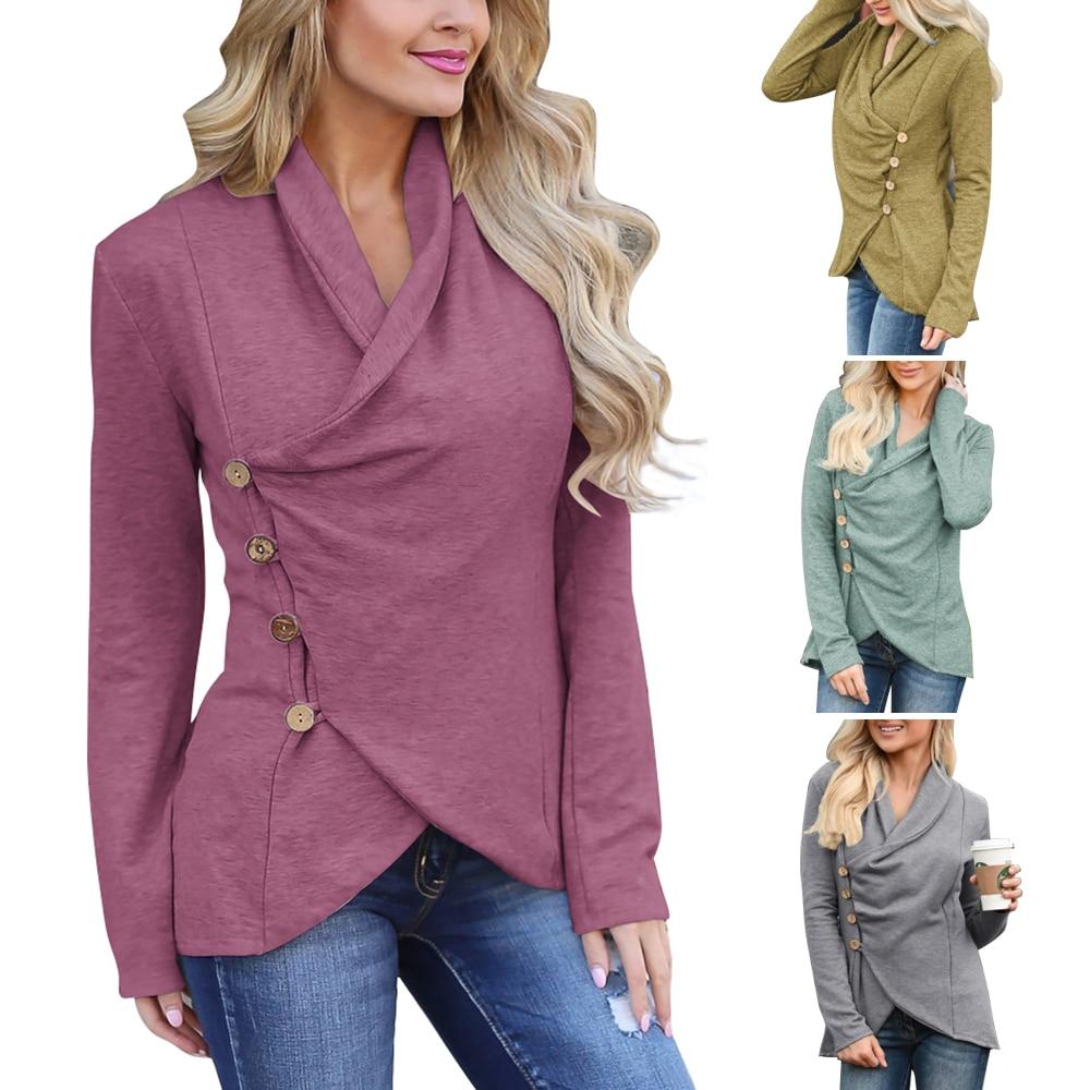 Wipalo 2019 Autumn Fashion Plus Size 2XL Women T Shirt Long Sleeve Tshirt Irregular Hem Casual Female Tops Large Sizes Tunics