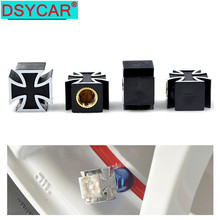 4 pcs/lot 2015 new arrive high quality novelty material universal car wheel tire valve cap cross design