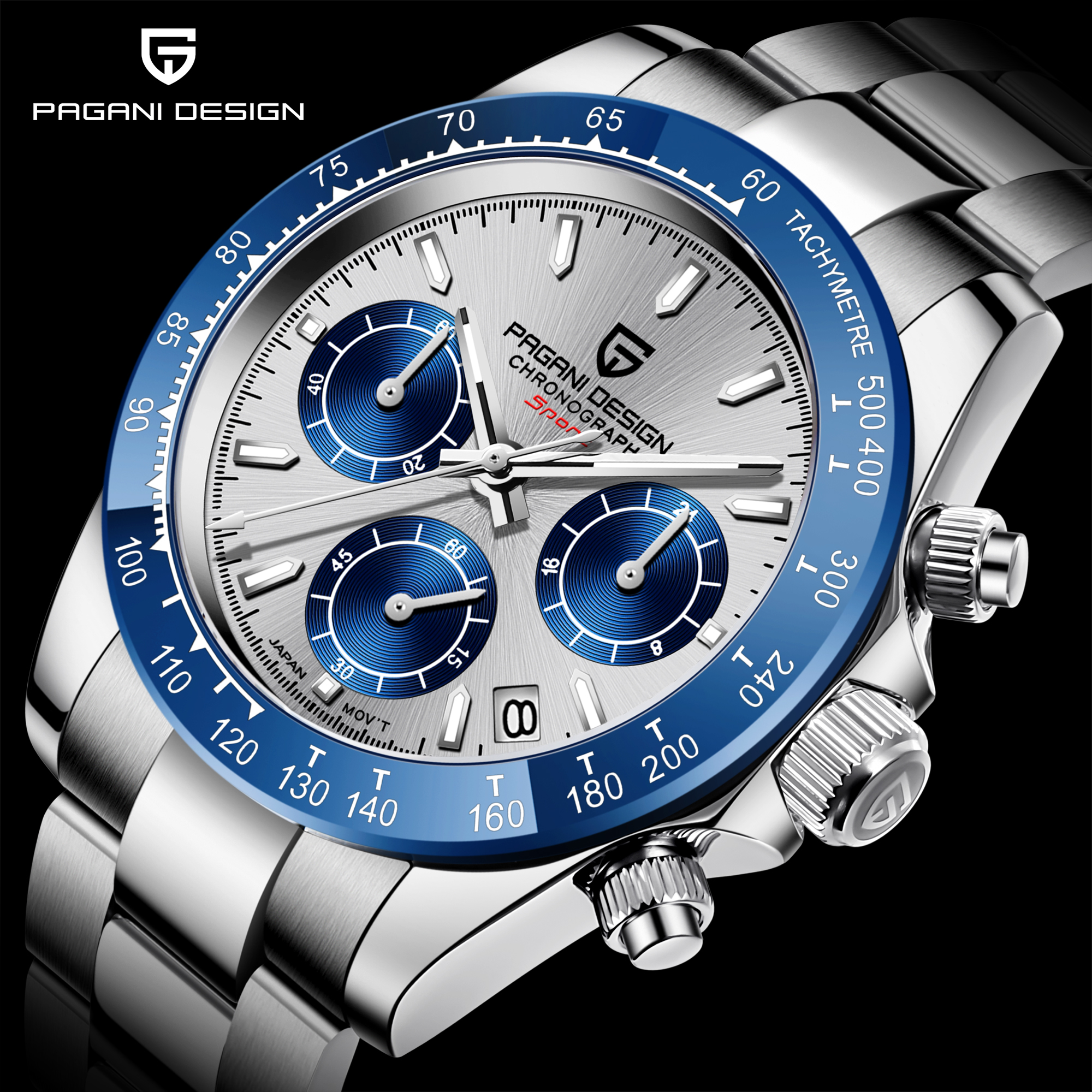PAGANI DESIGN Business Men's Watches <font><b>100M</b></font> Waterproof Sport WristWatch Sapphire Daytona Stainless Steel Men Chronograph Watch New image