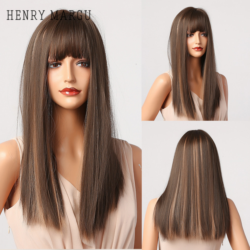 HENRY MARGU Brown Blonde Ombre Synthetic Wigs With Bangs Long Straight Natural Hair Wigs For Women Heat Resistant Daily Wigs