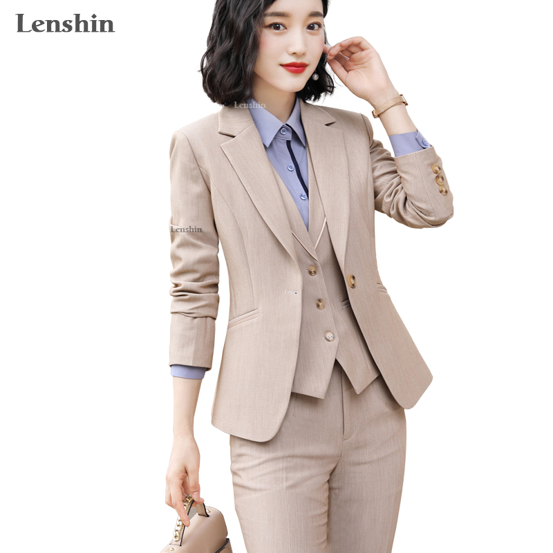Lenshin 3 Pieces Set High-quality Vest Pant Suit Office Ladies Work Wear For Women Female Formal Blazer Jacket With Trousers