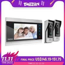 TMEZON TFT de 7 pulgadas con cable Video inteligente de la puerta del sistema de intercomunicación teléfono con 1 Monitor de visión nocturna + 2x1200TVL timbre impermeable Cámara