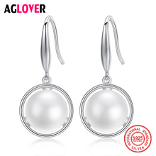 AGLOVER New Drop Earrings 11.5MM Natural Freshwater Pearl 925 Sterling Silver Pearl Earrings For Women Jewelry Engagement Gift