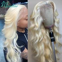 Perruque Lace front Wig 613 naturelle brésilienne, cheveux Remy, blond miel, 4x4, 13x1, pre-plucked, body wave, partie centrale