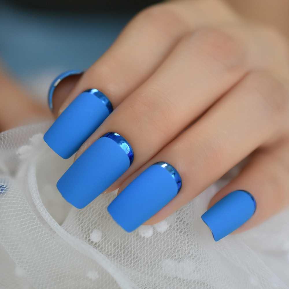 ブルーマット正方形反対フランスの偽のヒントクローム武ファッションミディアムロングアクリル爪卸売