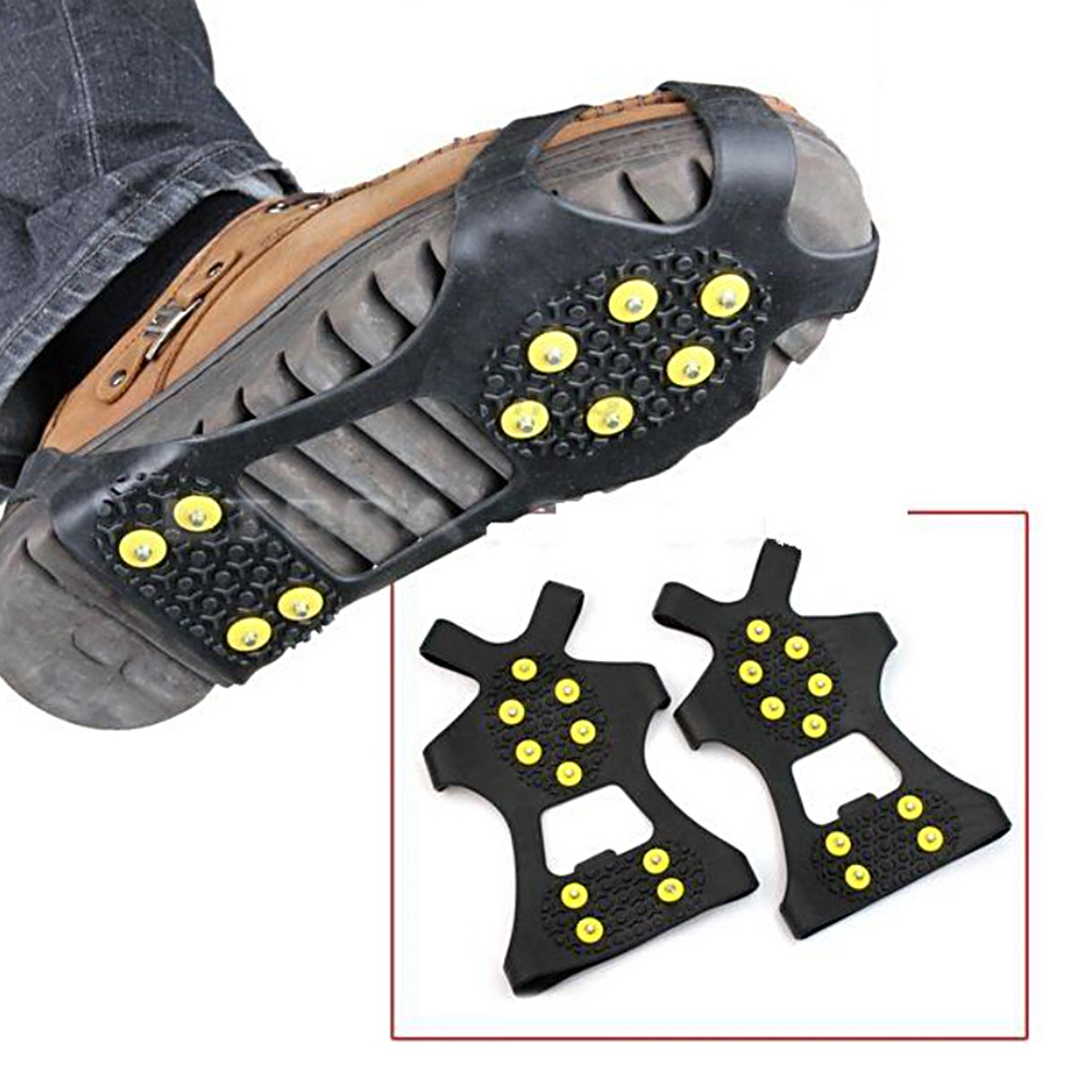 1 Pair Ice Grips 10 Studs Anti-Skid Snow Ice Climbing Shoes Spikes Grips Crampons Cleats Overshoes Crampons Spike Shoes Crampon