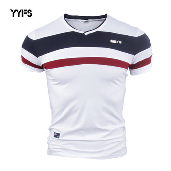 YYFS Men Short Sleeve T Shirts 2018 New Summer 100% Pure Cotton Vintage Patchwork Tees V neck tshirt Homme M-4XL