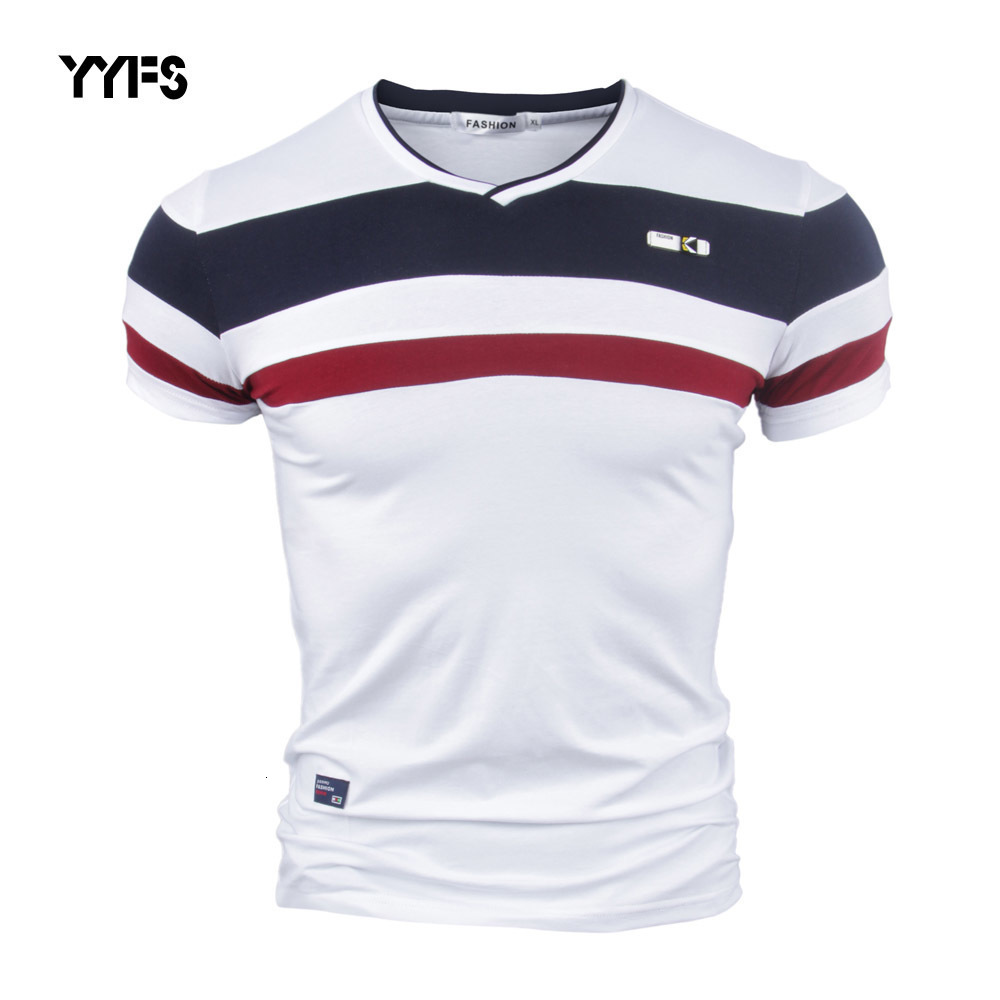 YYFS Men Short Sleeve T Shirts For Man 2018 New Summer 100% Pure Cotton Vintage Patchwork Tees V Neck Cotton Tshirt Homme M-4XL