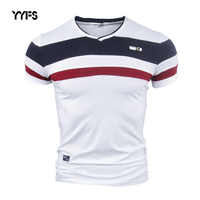 Yyfs men camisas de manga curta t para o homem 2018 novo verão 100% algodão puro do vintage retalhos t com decote em v algodão tshirt homme M-4XL