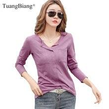 Женская футболка с длинным рукавом Повседневная Однотонная из