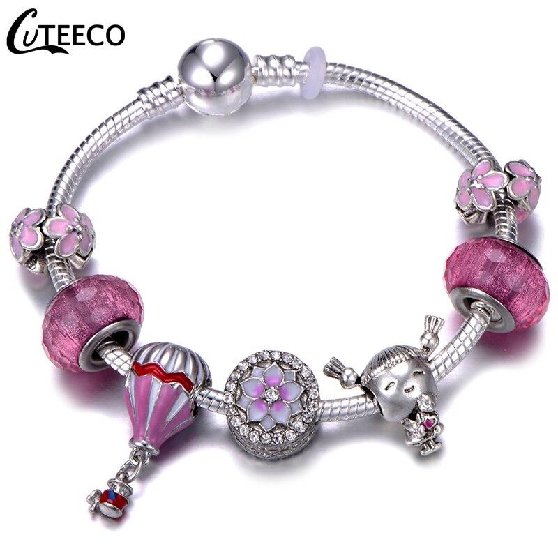 CUTEECO Европейский Любовь Сердце Шарм Браслеты и браслеты новые Марано бусины fits Дизайнерские Браслеты Женские Модные Ювелирные изделия Подарки - Окраска металла: AJ3195