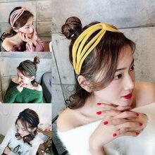 Bandeau de cheveux en tissage créatif ajouré pour femmes, cerceau de cheveux Simple, ficelle à tricoter, couleur unie pour filles, accessoire de mode