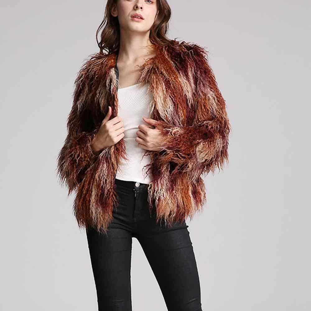 Furry Pelz Mantel Frauen Flauschigen Warme Lange Hülse Farbverlauf Oberbekleidung Herbst Winter Mantel Jacke Haarigen Kragen Mantel