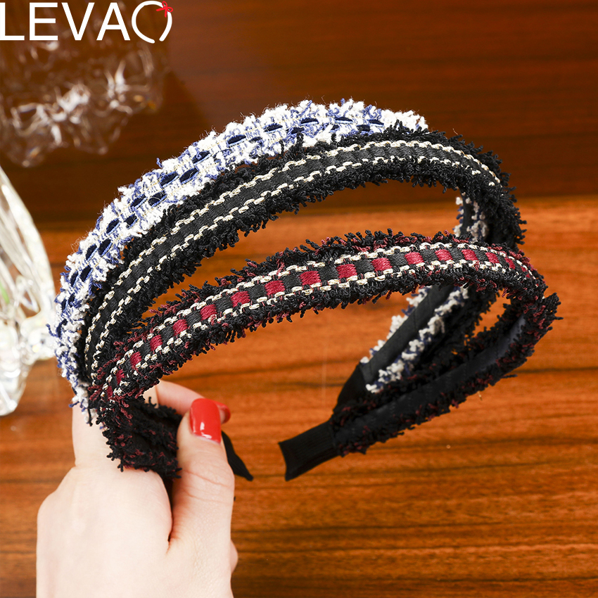 Levao Korean Sweet Weaving Headband Head Hoop Tassel Non-Slip Casual Plaid Hair Band Wild Plastic Hair Accessories For Women