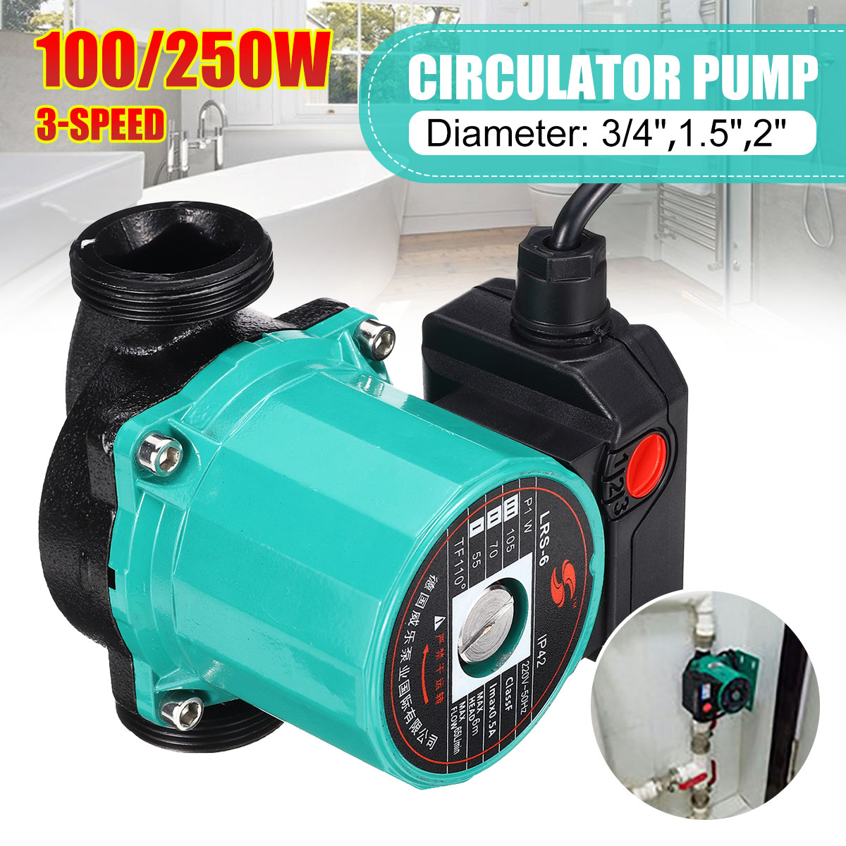 3-Speed 220V Central Heating Circulator Mute Boiler Hot Water Circulating Pump Cast Iron F Class Insulation IP42 Protection