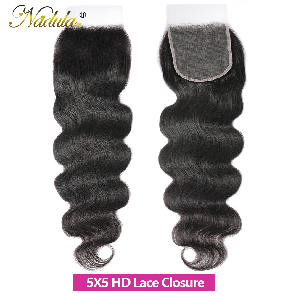 Nadula Hair 5x5 HD Lace Closure Middle Part /Free Part  Body Wave Closure 10-20INCH Swiss Lace Closure 100%  2