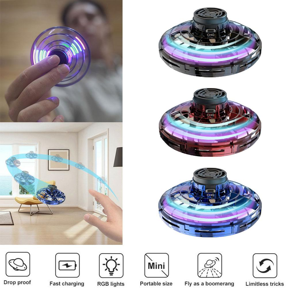 Fidget Finger Spinner Mini Flying Gyro Outdoor Gaming Fly UFO Drone Kids Toy Colorful LED Lights Perfect Gifts For Birthday