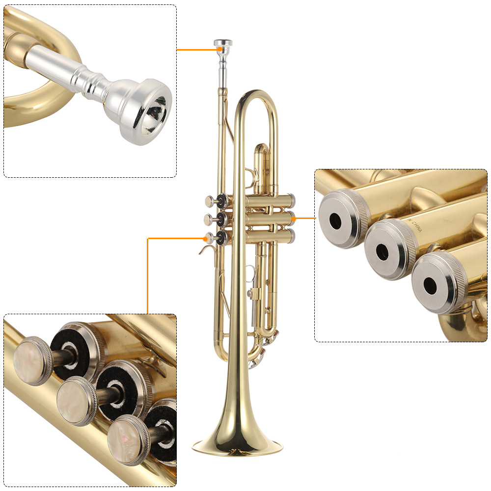 Ammoon Bb труба плоская латунь позолоченный Изысканный прочный музыкальный инструмент с мундштуком перчатки ремень Чехол - 2