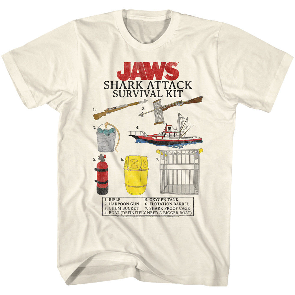 Mens Licensed JAWS New T-Shirt SHARK ATTACK SURVIVAL KIT MOVIE Sizes SM - 5XL image