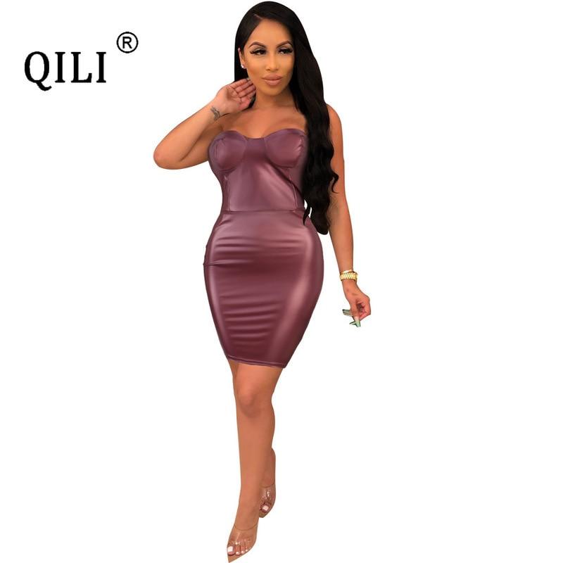 Купить qili женское сексуальное платье без бретелек из искусственной