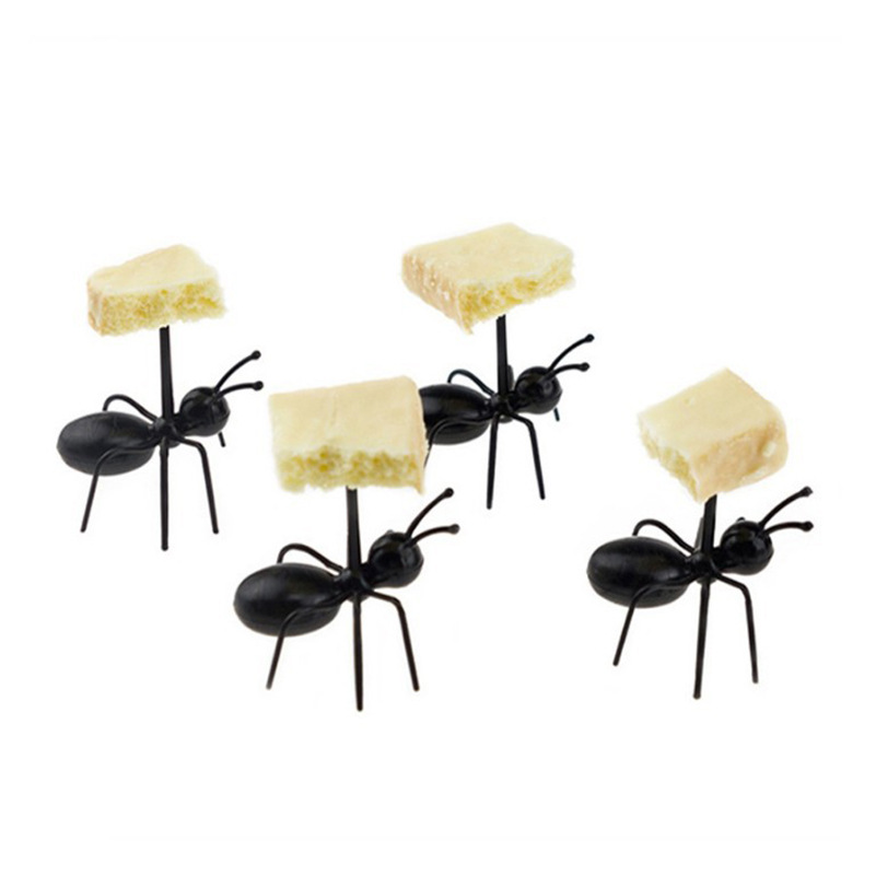 12pc Funny Fruit Disposable Tableware Creative Ant Fork For Fruit Dessert Cake Toothpick Happy Birthday Party Decor Kids Wedding