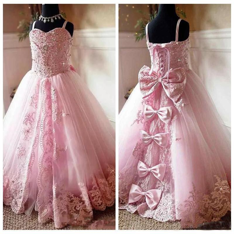 Красивые розовые платья с цветочной аппликацией для девочек, вечерние платья на бретельках для первого причастия, 2019