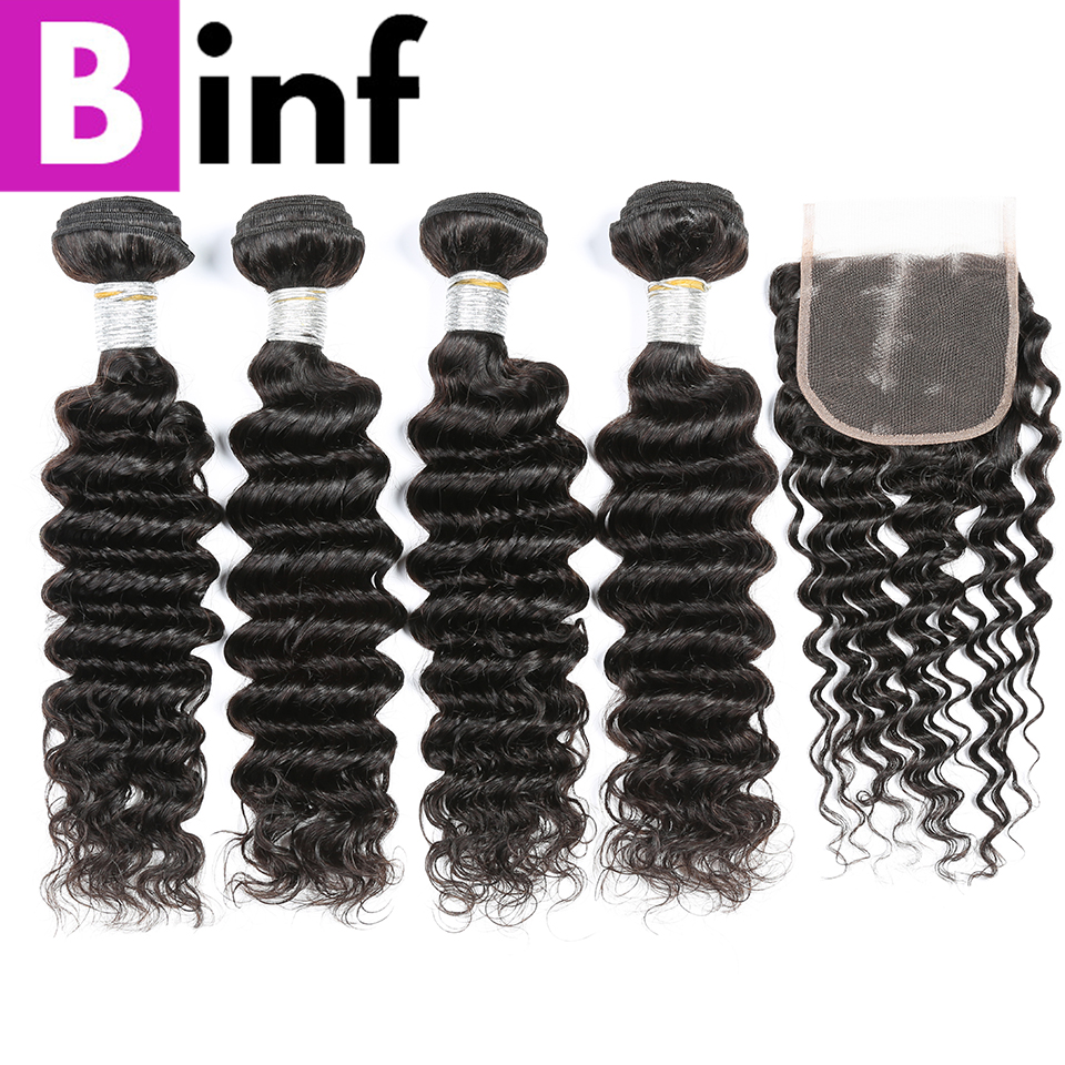 BINF 4PCS Indian Deep Wave Bundles With Closure 100% Human Non Remy Hair Weave Extensions Natural Color For Women Free Shipping-in 3/4 Bundles with Closure from Hair Extensions & Wigs    1