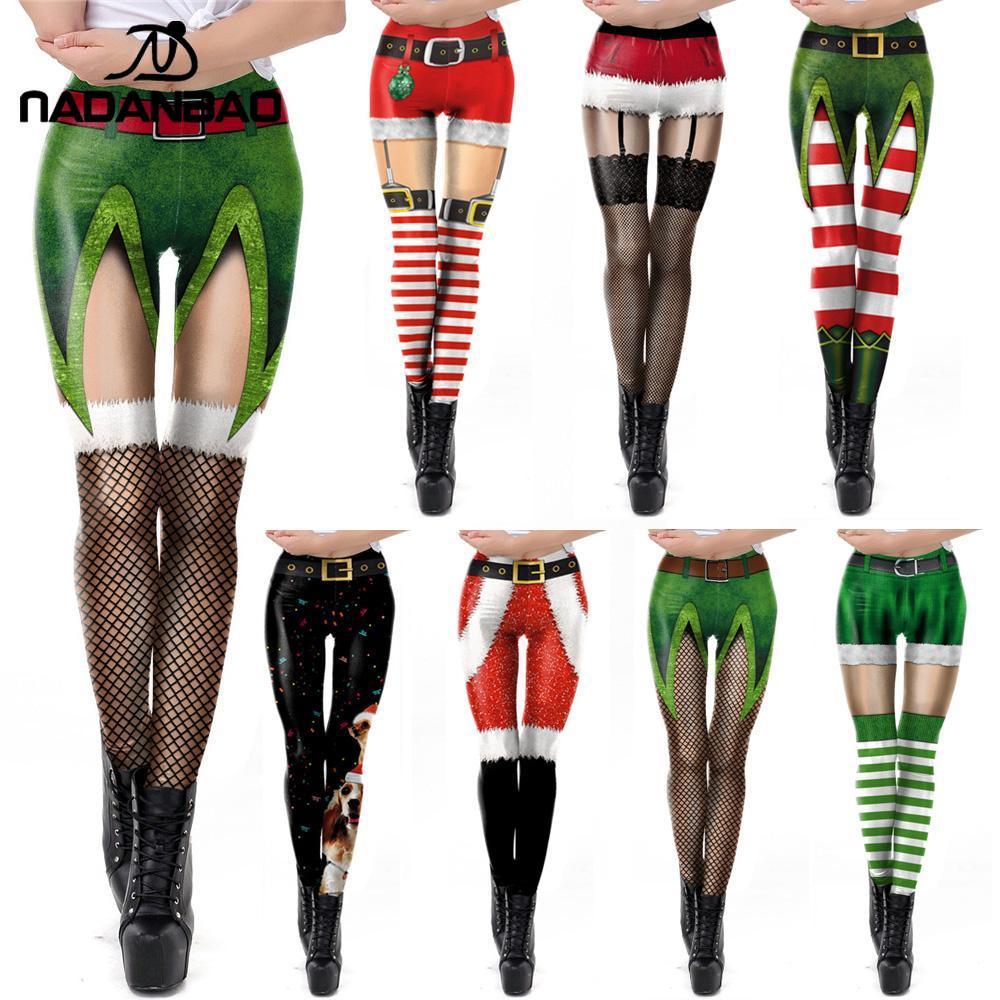 NADANBAO Green Women St. Patrick's Day Leggins Shamrock Pants Spring Elastic Workout Legging Cute Sexy Legins Plus Size