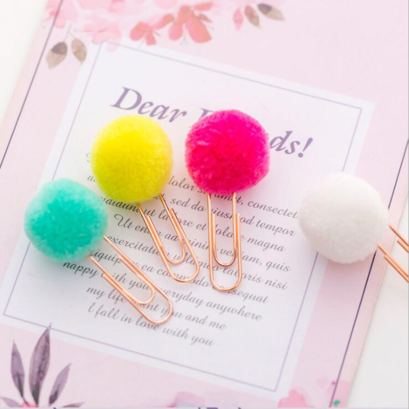 6pc / Set Of Colorful Cute Fur Ball Shape Paper Clip Fashion Business Lady Style Office Stationery Set Ring Binder Ticket Holder
