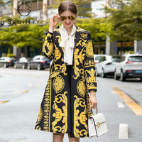 SEQINYY Long Top 2020 Autumn Winter New Fashion Design Long Sleeve Golden High Quality Flowers Printed Vintage Trench Coat