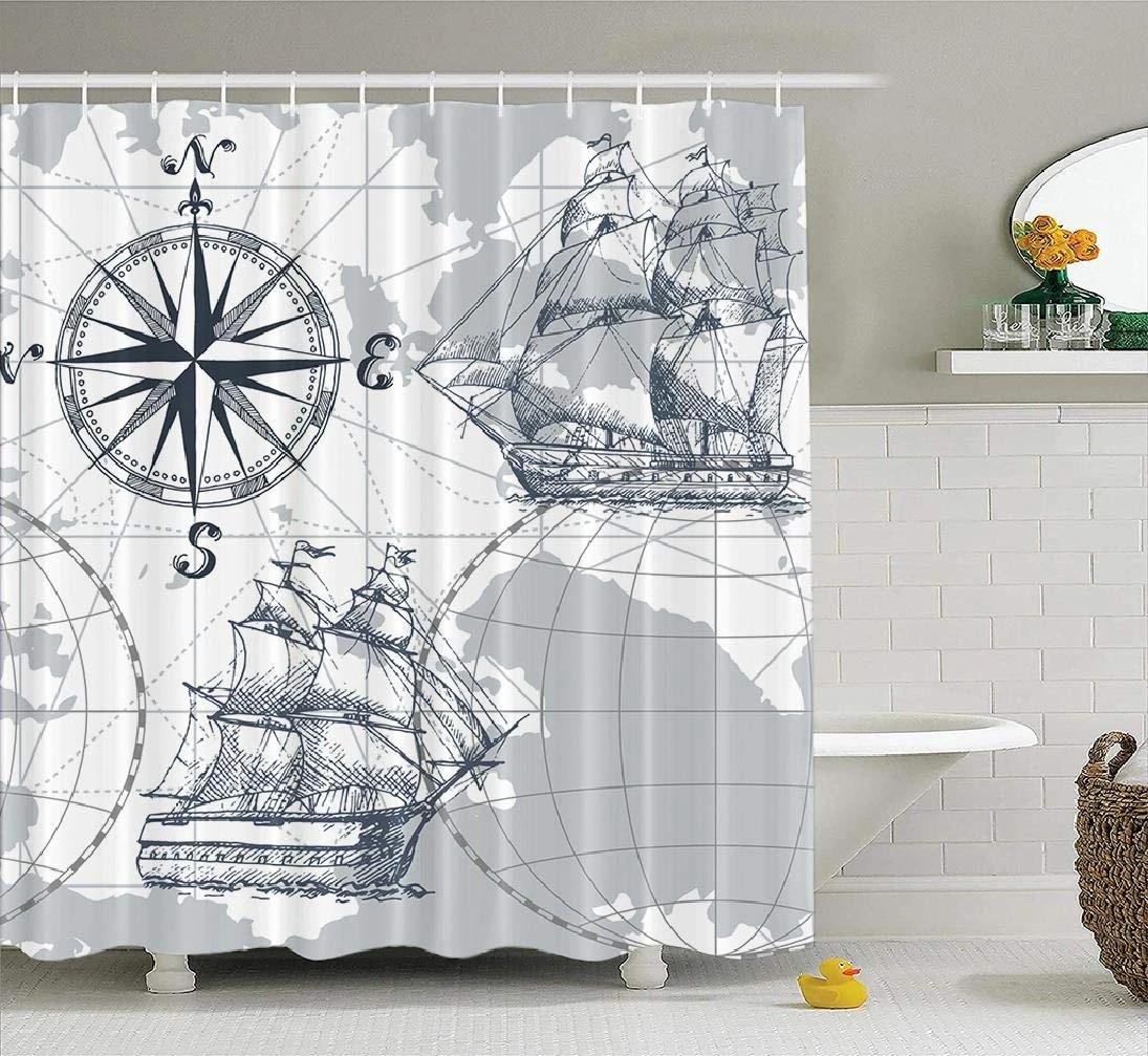 Nautical Shower Curtain Sailboat Ship Boat Sail Sea Map Wheel Compass Anchor Grey Fabric Bathroom Shower Curtain Polyester Bath Shower Curtains Aliexpress