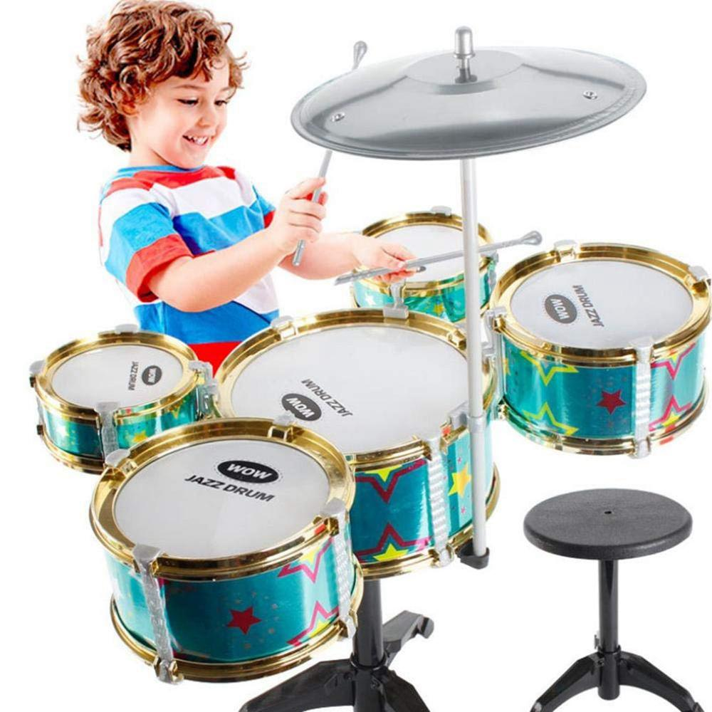 Simulation Drum Set Musical Rhythm Instrument Toy 5 Drums With Small Cymbal Stool Drum Stick Music Toys For Children Gifts