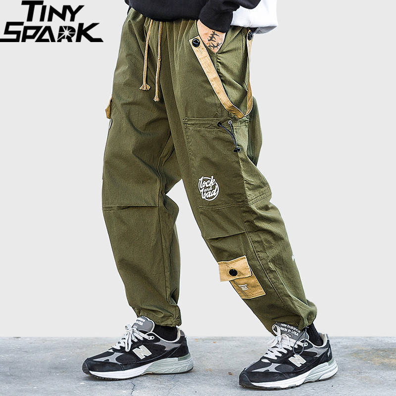 Hip Hip Cargo Pants Streetwear Men Harajuku Harem Pants Baggy Joggers 2019 Casual Tactical Pants Pockets Track Trousers Green