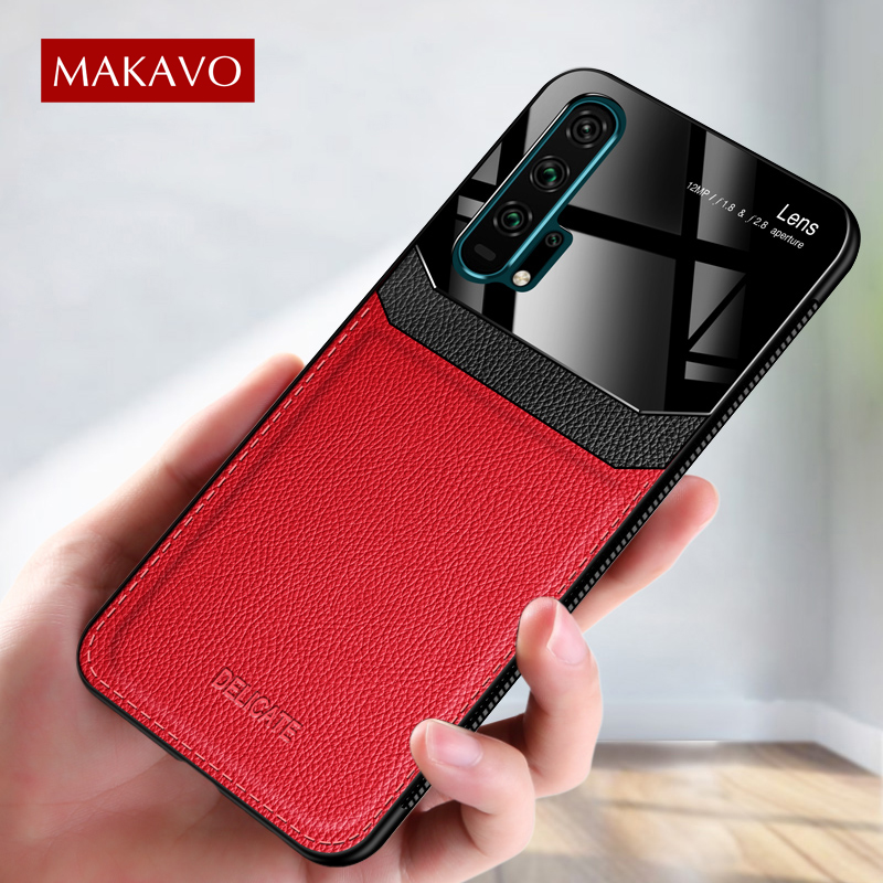 MAKAVO For Huawei Honor 20 Case Retro Leather Texure Plexiglass Soft Cover Case For Huawei Honor 20 Pro Honor 20 Phone Cases