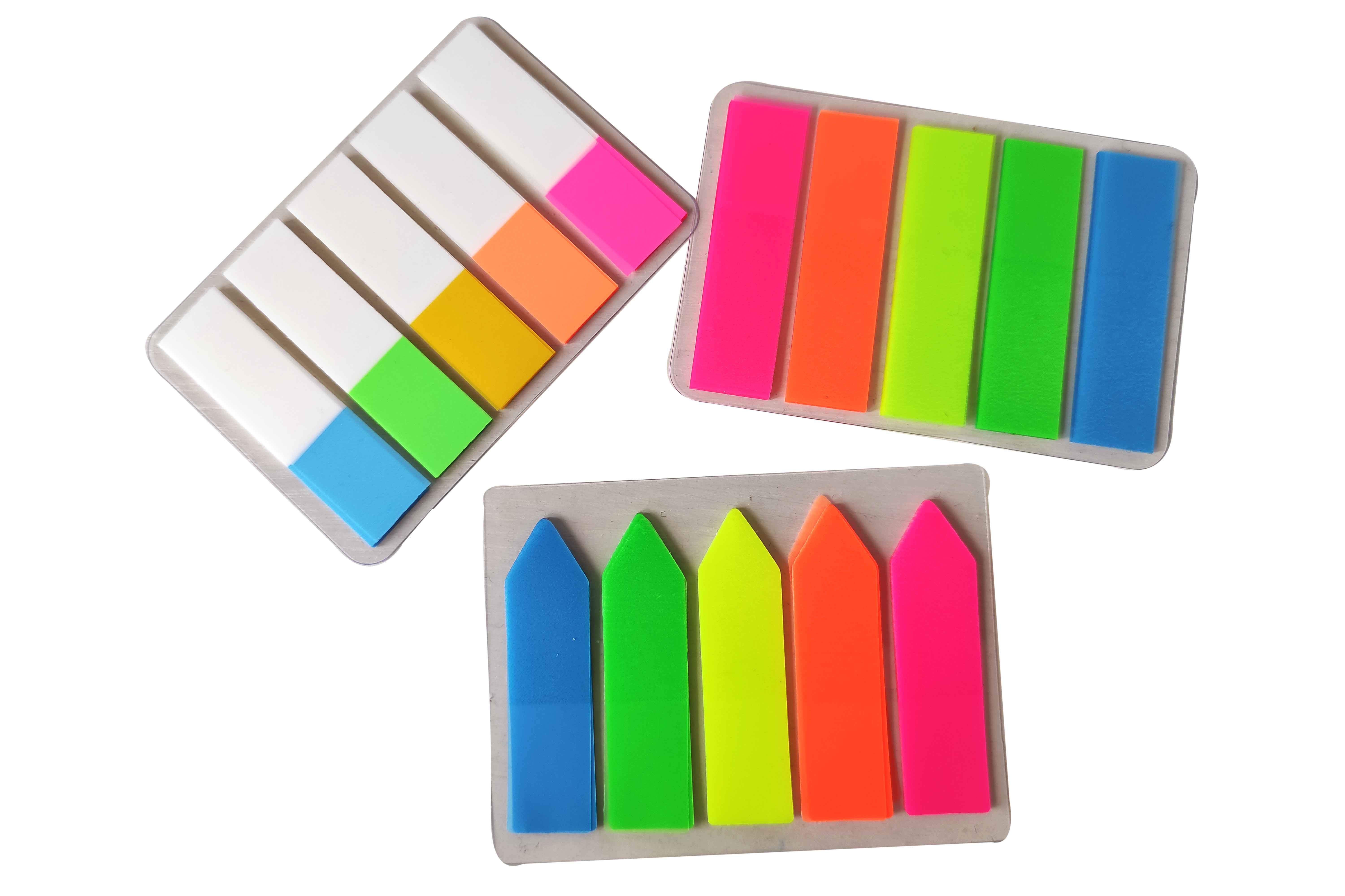 Papel autoadesivo do índice do marcador das notas pegajosas da almofada do memorando do filme da fluorescência colorido para o uso do escritório das escolas