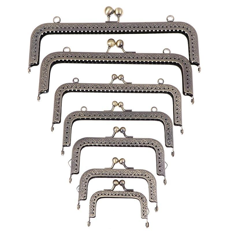 1pcs DIY 6.5/8.5/10.5/12.5/15/18/20.5cm Metal Frame Purse Handle Coins Bags Metal Kiss Clasp Lock Frame Accessories For Bag