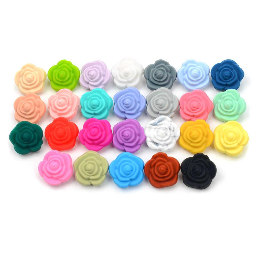 Hurtownie 10 sztuk/partia koraliki silikonowe kwiat dziecko gryzaki BPA bezpłatne Rose dziecko ząbkowanie zabawki akcesoria do łańcucha smoczek BPA darmo