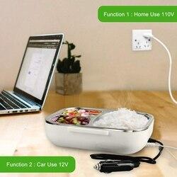 ABSS przenośne elektryczne pudełko na lunch samochód z 12V gospodarstwa domowego grzejnik elektryczny z odłączanym pojemnik ze stali nierdzewnej podgrzewacz żywności ue w Pudełka śniadaniowe od Dom i ogród na