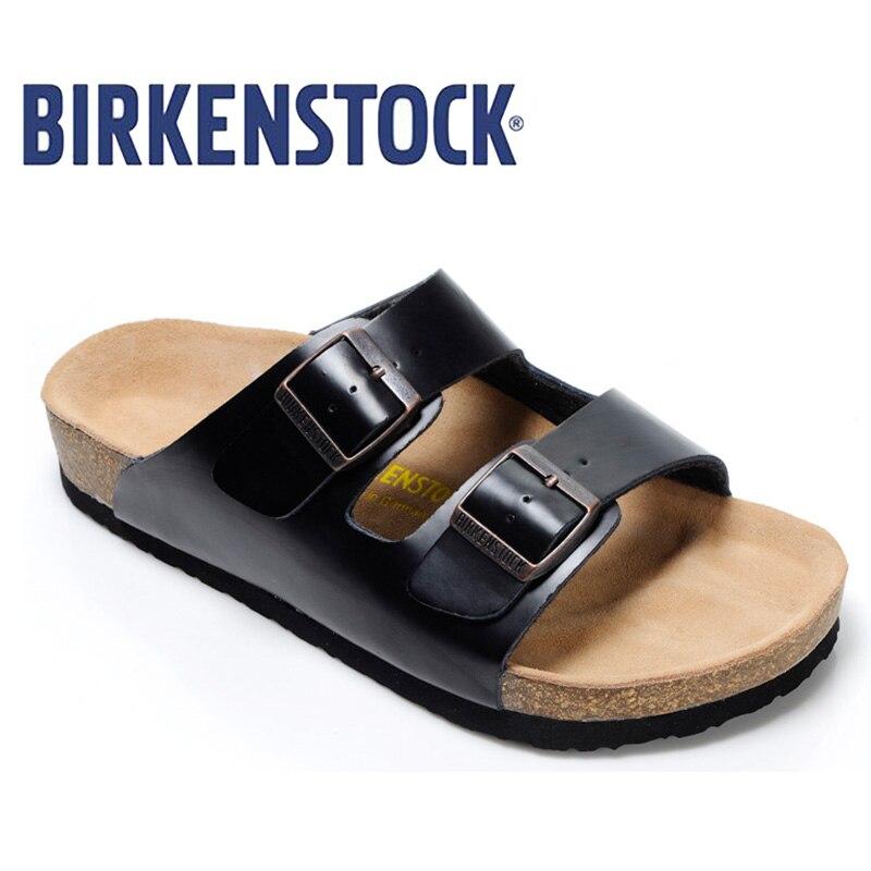 2019 Original Birkenstock Slippers Men Summer Arizona Soft Sandals Men Leather Unisex Shoes Beach Slippers 802 Cork Sandals