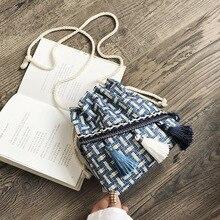 Fashion Simple Woven Mini Bag Famous Style Female Messenger Bag Shoulder Bag Tassel Bucket Bolsos Mujer Shoulder Bag