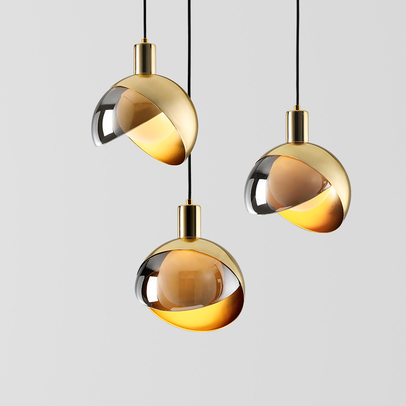 Nordic Lustre Small Pendant Lights Personality Art Bedroom Bedside Lamp Creative Metal Glass Ball Hanging Lamp Light Fxitures