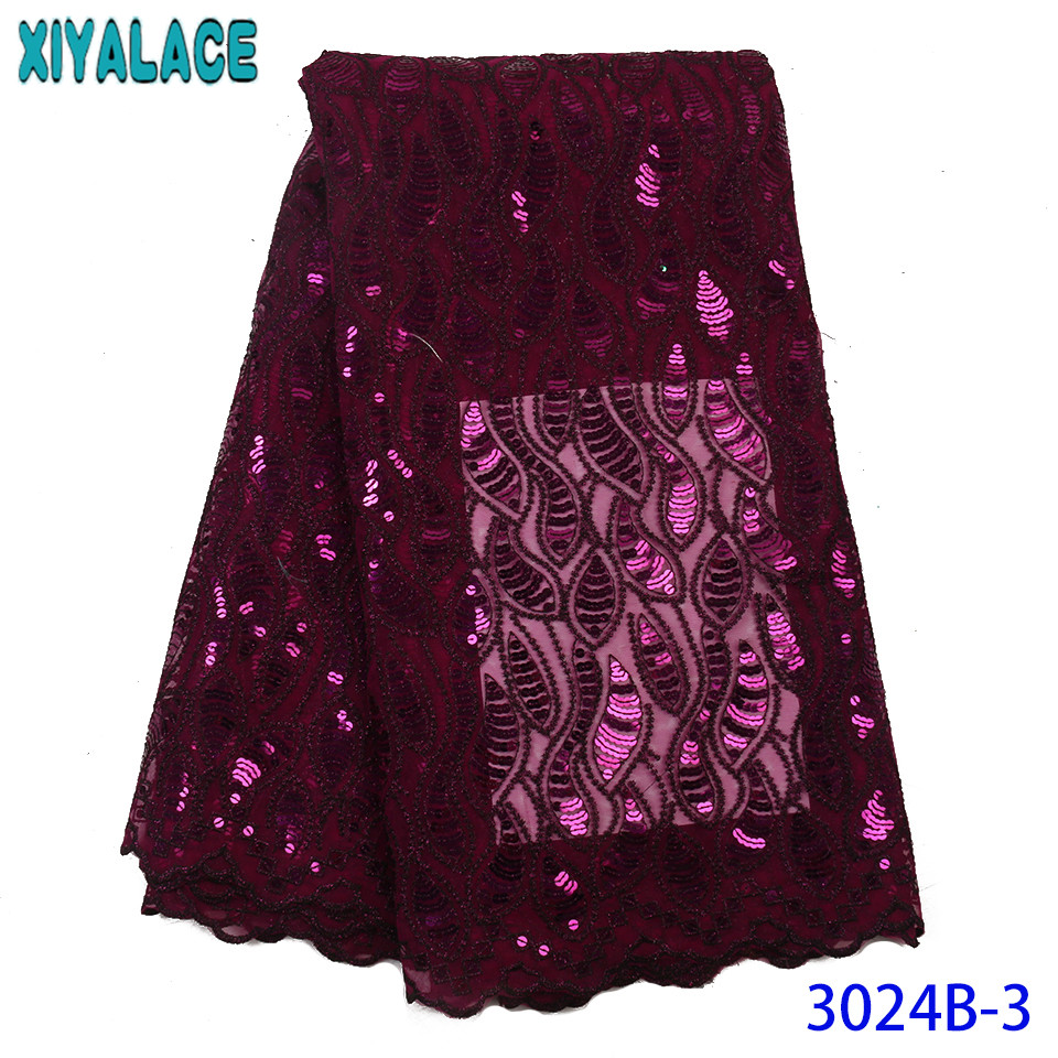 High Quality African Tulle Lace,French Sequence Net Lace,Nigerian Fabrics Laces With Sequins For Wedding Dresses KS3024B